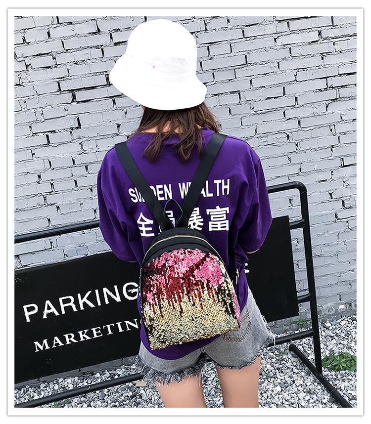 Backpacks women Korean mini 2018 new sequined shell fashion trend women go with small backpacks travel backpack 77