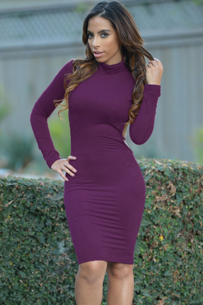 cb130d67fc7 FIYOTE Purple Mustard Faux Suede Turtleneck Long Sleeve Midi Dress LC60712  New Backless Midi Bodycon Dress With Long Sleeves-in Dresses from Women s  ...