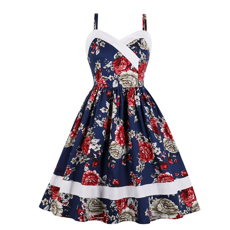 Plus Size Vintage Elegant Party White Women Dresses Sexy Sweet Print Retro Off Shoulder Blue Office Lady Female Fashion Dress