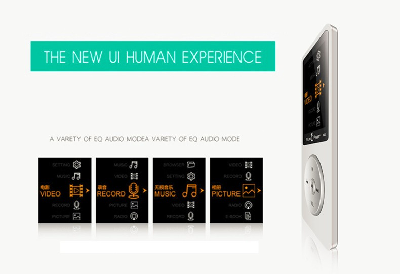 IQQ X02 8GB MP3 Music Player 1.8 Inch Screen 30h lossless sound, Support up to 64GB Micro SD Card Gold Built in Speaker FM Ebook (12)