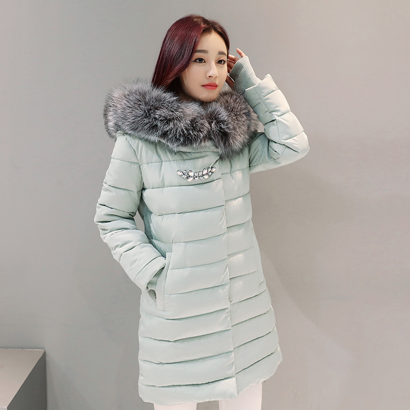 2017New Winter Fashion Cotton Coat Female Slim Warm Hooded Parkas Female Overcoat High Quality Glooves Women