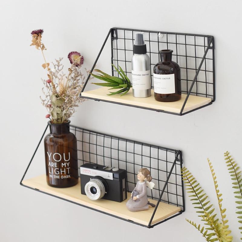 Black Metal Grid Floating Shelves Wall Mountable Display ...