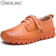 2017 Spring Autumn Fashion Soft Comfortable Flat Shoes Genuine Leather Lace Up Hand Sewing Shoes Outdoor Women Casual Shoes