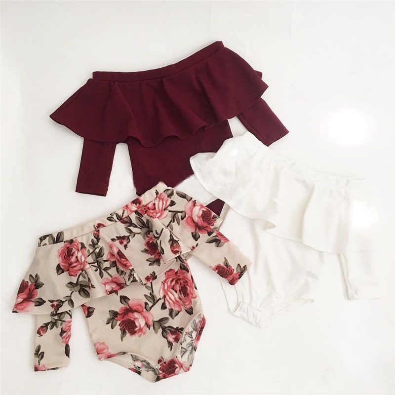 2018 New Cute Newborn Toddler Baby Girls Off Shoulder Long Sleeve Ruffles Floral Print Striped Bodysuit Jumpsuit Outfits Clothes