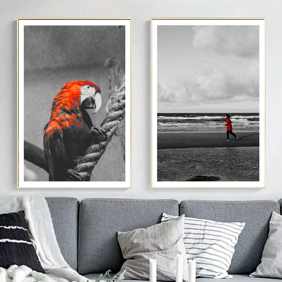 Red Parrot Beach Nordic Posters And Prints Wall Art Canvas Painting Pop Pictures For Living Room Decor