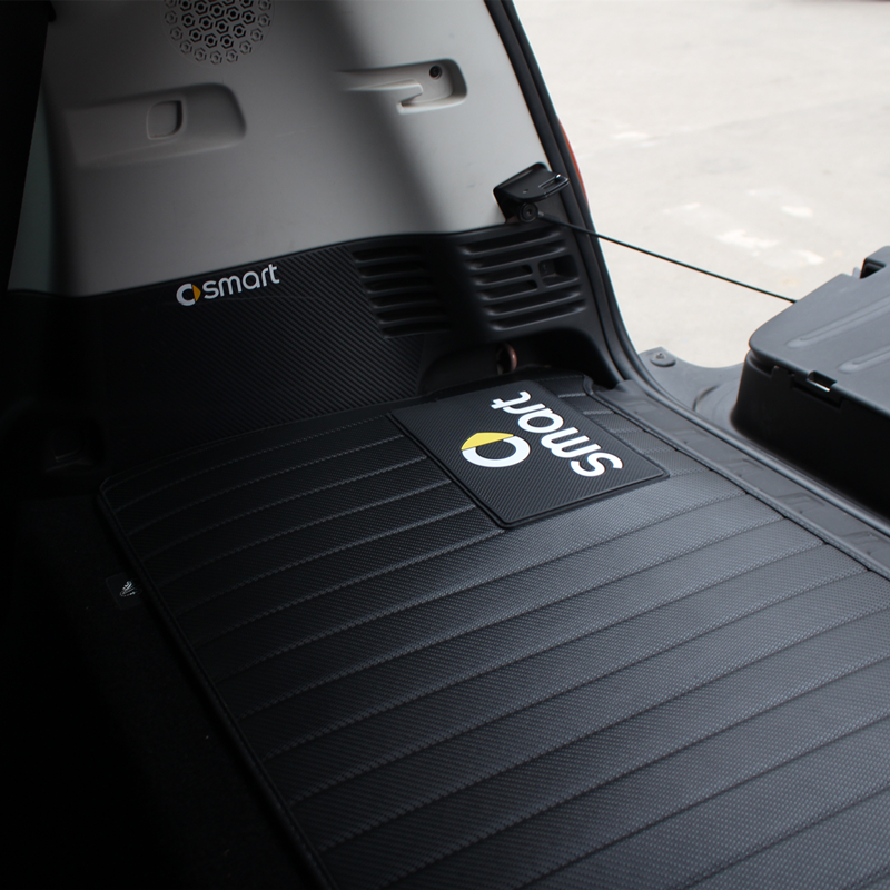 Voiture arrière caisse de queue anti-sale pad pour Mercedes-Benz Smart Fortwo453 451 carbone fibre motif noir tapis de coffre de voiture forme auto pièces
