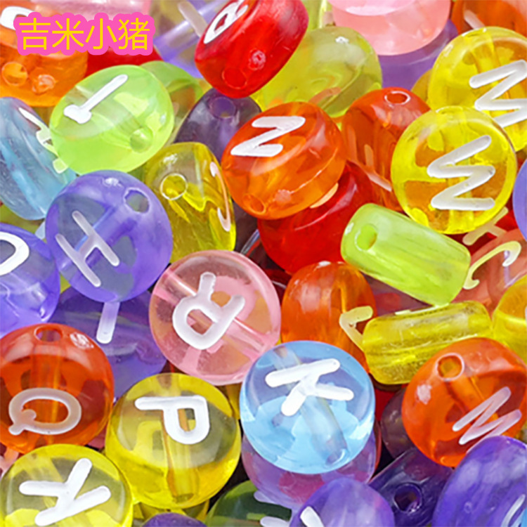 100pcs 4*7mm Round Alphabet/Letter Beads Toy For Children Girl Gifts Jewelry Making Black Bead Colorful Letter DIY Bracelet 2019