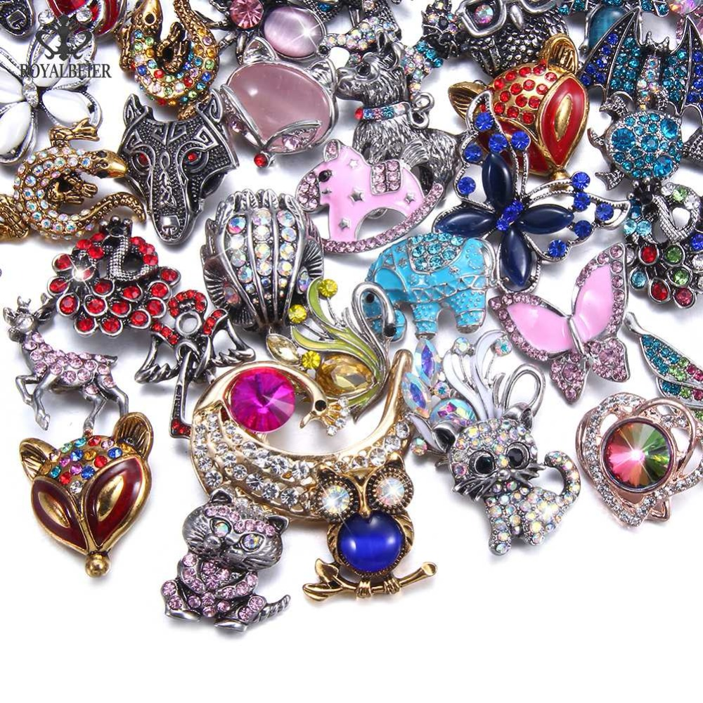 Royalbeier 20pcs Lot Mixed Rhinestone Metal Button Charms For 18 20mm Handmade Baby Girl Accessories Beads For Jewelry Making A697