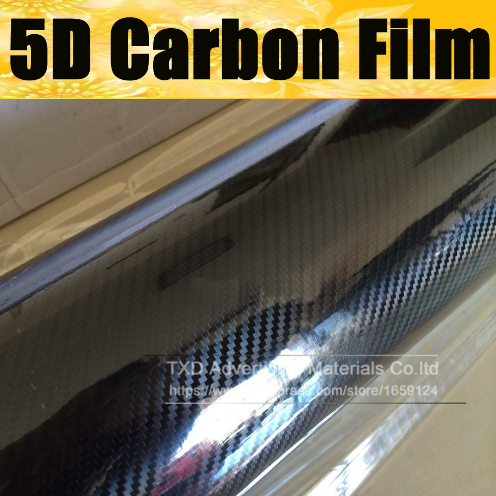 1.52x5m Premium High Glossy Black 5D Carbon Fiber Vinyl 5D Carbon Fibre Wrap 5D Carbon Fiber Film For Vehicle Auto Car car styling 10 20 30cmx152cm super quality ultra gloss 5d carbon fiber vinyl wrap texture super glossy 5d carbon film with
