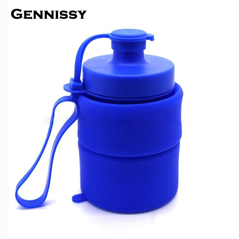 GENNISSY 800 ML Creativo Plegable de la Botella de Agua Botellas De Silicona Ple