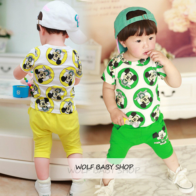 Retail 1-3years baby kids children Clothing boys Clothes cute cartoon short-sleeves T-shirt + pants Infant Garment free shipping