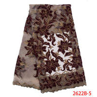 New Hot Selling Lace Fabric Nigerian Wedding Lace Dress Fabric French Latest Velvet Embroidery Net Fabric Lace QF2622B 5