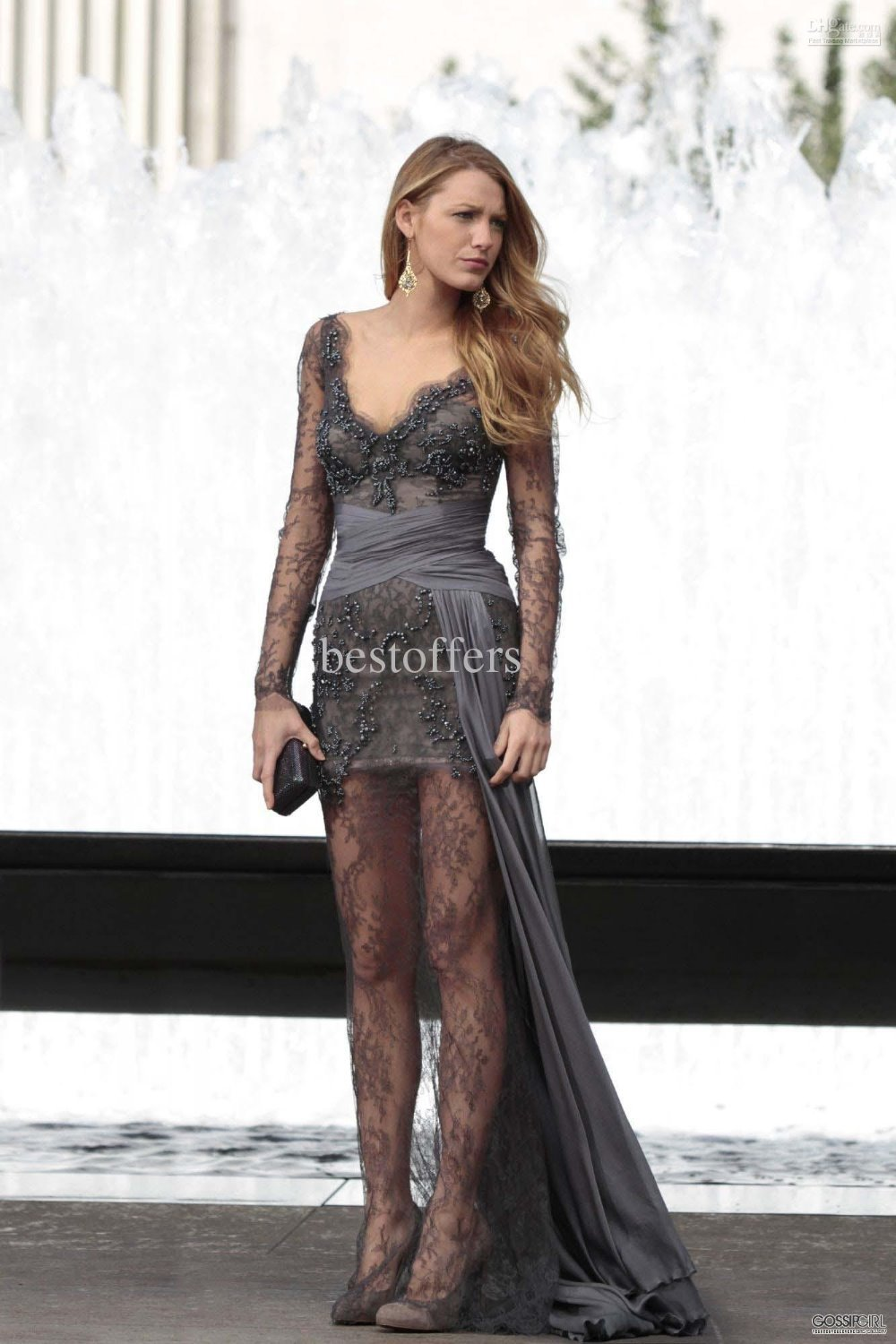 free shipping 2015 Gossip Girl fashion Blake Lively sexy Zuhair Murad Grey maxi dresses Long Sleeves Lace Beaded Celebrity Dress