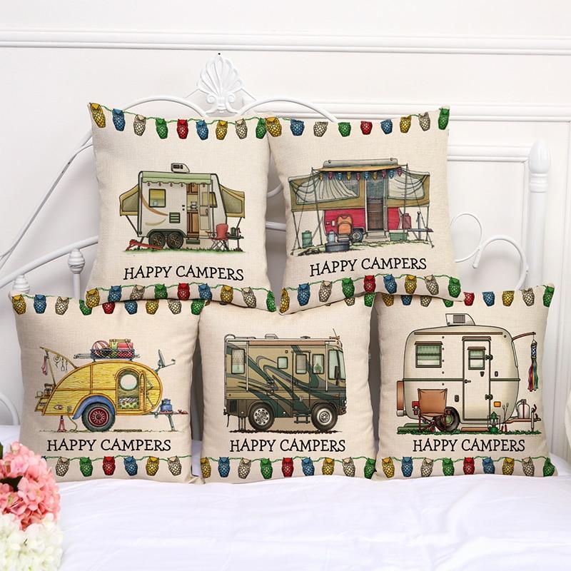 Cartoon Camper RV Series Cotton Linen Pillow Case Sofa Cushion Home Decor