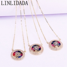 5Pcs Multi Colorful CZ Zirconia Micro Paved Round Gold Color Pendant Necklaces