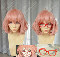 Free Shipping Kyoukai no Kanata Mirai Kuriyama Short Cosplay Wig Anime Beyond the Boundary Mirai Synthetic Hair + Red Glasses