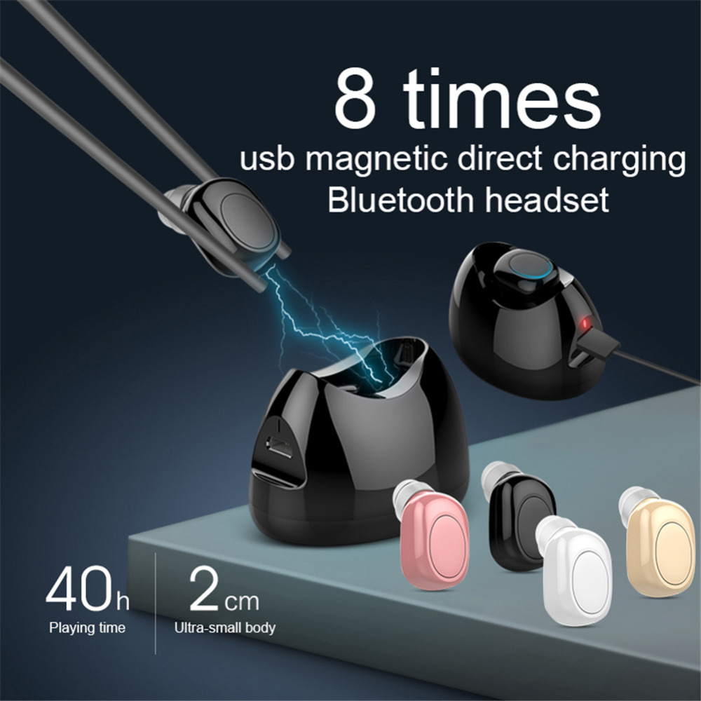 New Mini Bluetooth Earphone Wireless Invisible In Ear Earbud Handsfree Car Headset Magnetic Charging Box with Mic For Smartphone ihens5 2 in 1 bluetooth earphone usb car charger adapter with mini wireless stereo headset handsfree with mic for cell phone