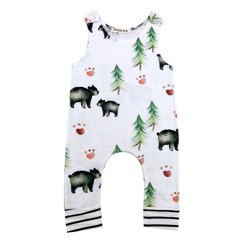 2017 Newborn Baby Boy Clothes Tiny Cottons Baby Romper Summer Sleeveless Cute Bear Print Infant Girl Clothing Onesie Bobo Choses