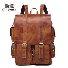 Men's Leather Backpack Leisure Fashion Retro Vintage British Style Handmade Bags Famous Designer Style