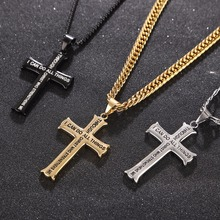 Men's Necklace Stainless Steel Cross Pendant with Bible Verse