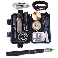 13 in 1 survival kit Set Outdoor Camping Travel Multifunction First aid SOS EDC Emergency Supplies Tactical for Wilderness laser wilderness first aid equipment case