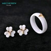 MECHOSEN White Black Ceramic Jewelry Sets Earrings Rings Ear Piercing Copper Flower Stud Earring AAA Zircon