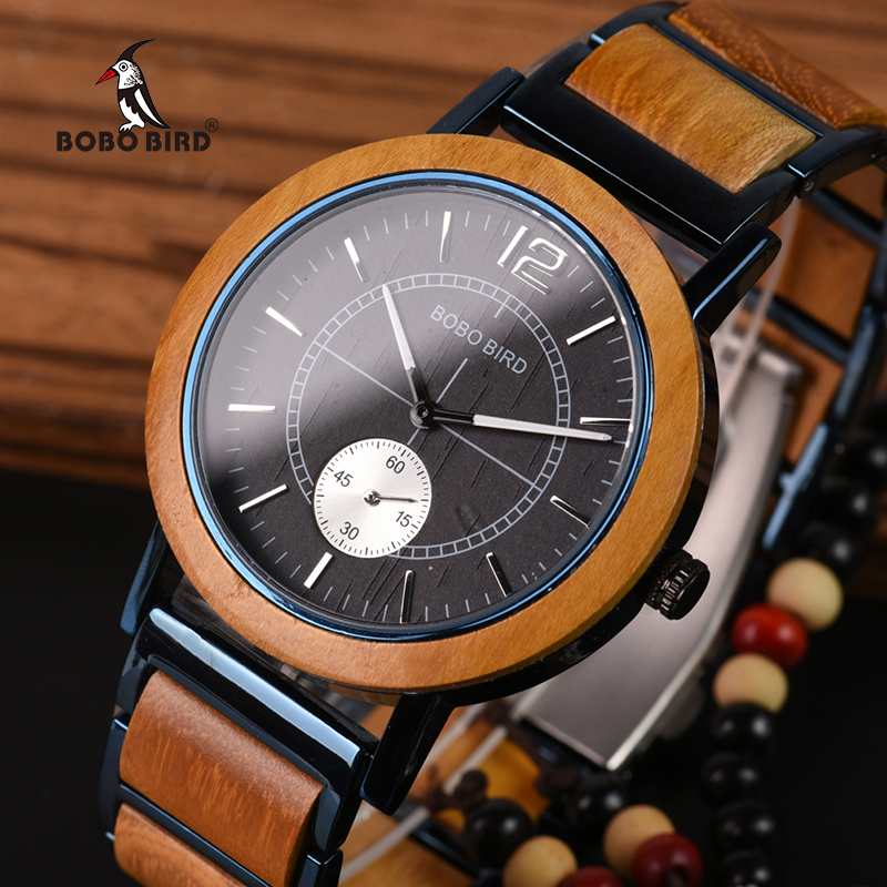 Reloj Masculino BOBO BIRD de madera para hombre, relojes de marca de lujo con estilo para mujer, regalos geniales para amantes, se acepta grabado con Logo