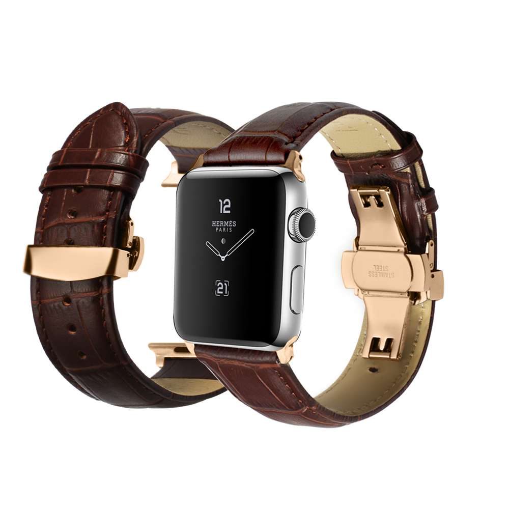 Black Brown Genuine Calf Watch Strap Deployment Clasp Adapter 38mm 42mm for iWatch Series 2 1 Series 3 for Apple Watch Band 42mm 38mm for apple watch s3 series 3