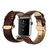 IStrap Black Brown Calf Genuine Assista Bracelete Implantação Fecho S/S primavera Bar Adaptador 38mm 42mm para Relógio Iwatch para Apple banda