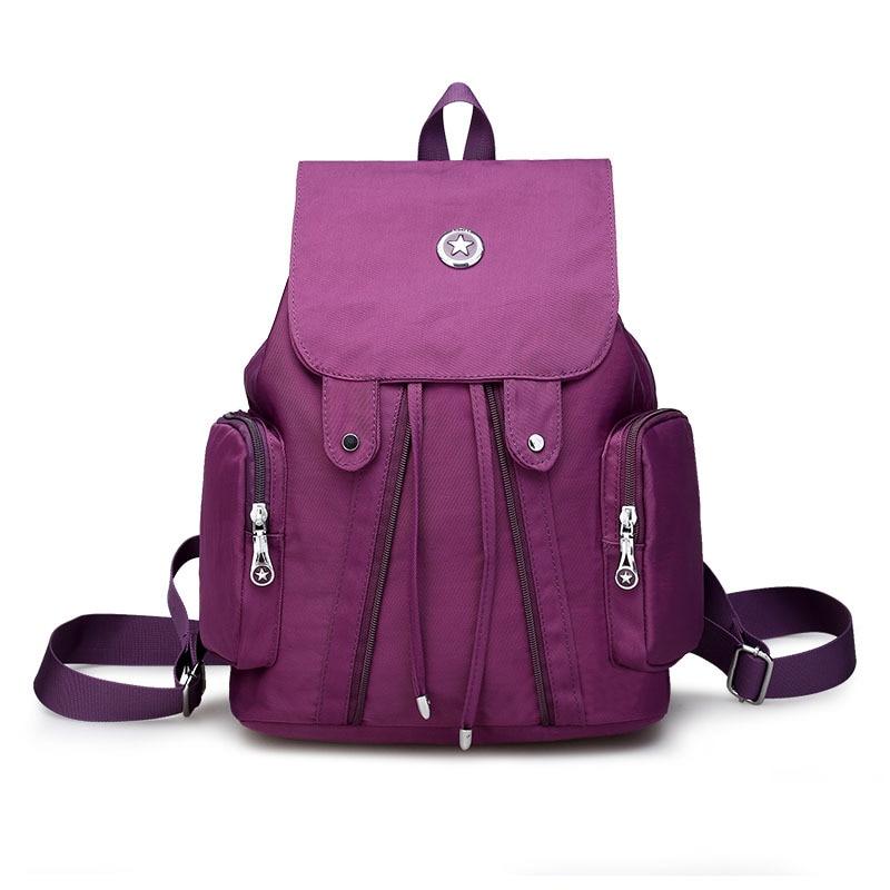 2017 Brand New Nylon Backpack Waterproof Women Backpacks Solid Girls School Bags Black Women Casual Travel