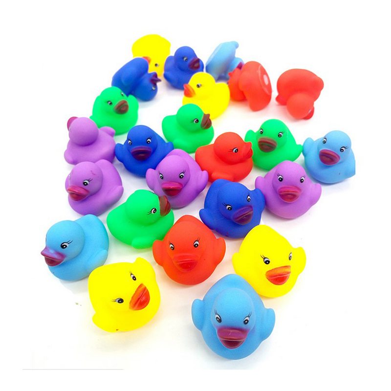 12pcs/set Baby Cute Mini Colorful Rubber Float Squeaky Sound Duck Bath  Bathroom Water Pool