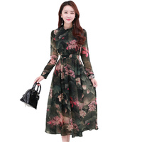 Fashion Floral Print Dress Women Long Sleeve Stand Collar Chiffon Dress 2017 Spring Autumn Casual Bohemian