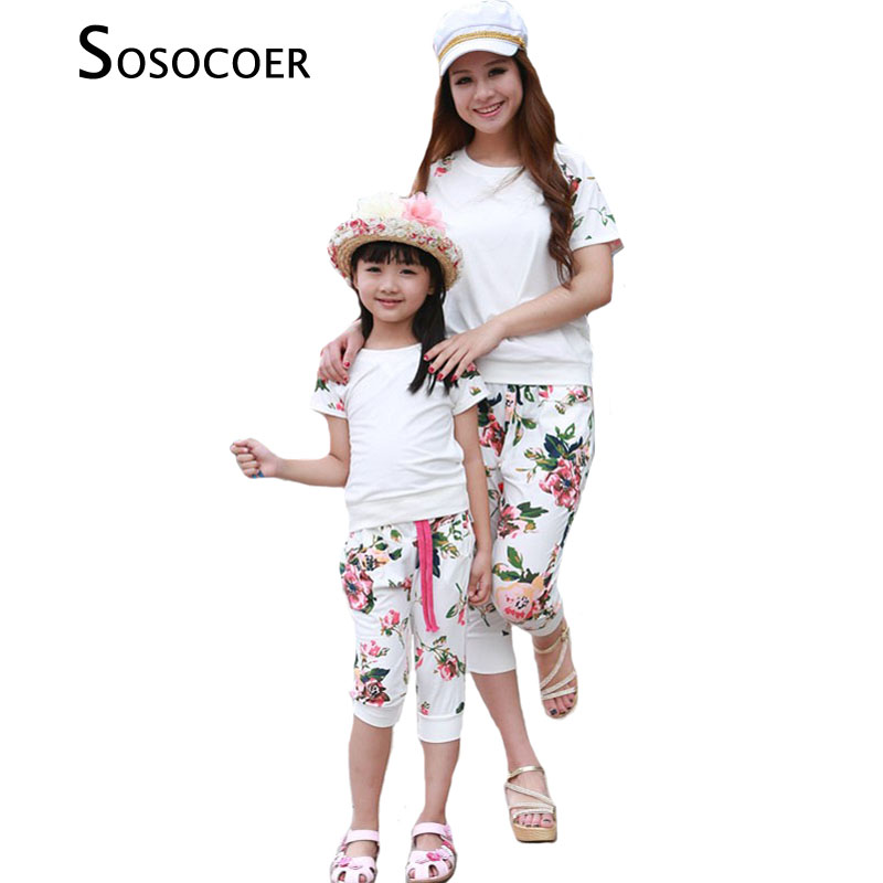 Summer Style 2016 Family Fitted Fashion Mother Girl Dress Set Loral Short Sleeved T Shirt Shorts