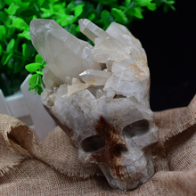 Tibets natural white crystal cluster carving skull to heal Christmas gift