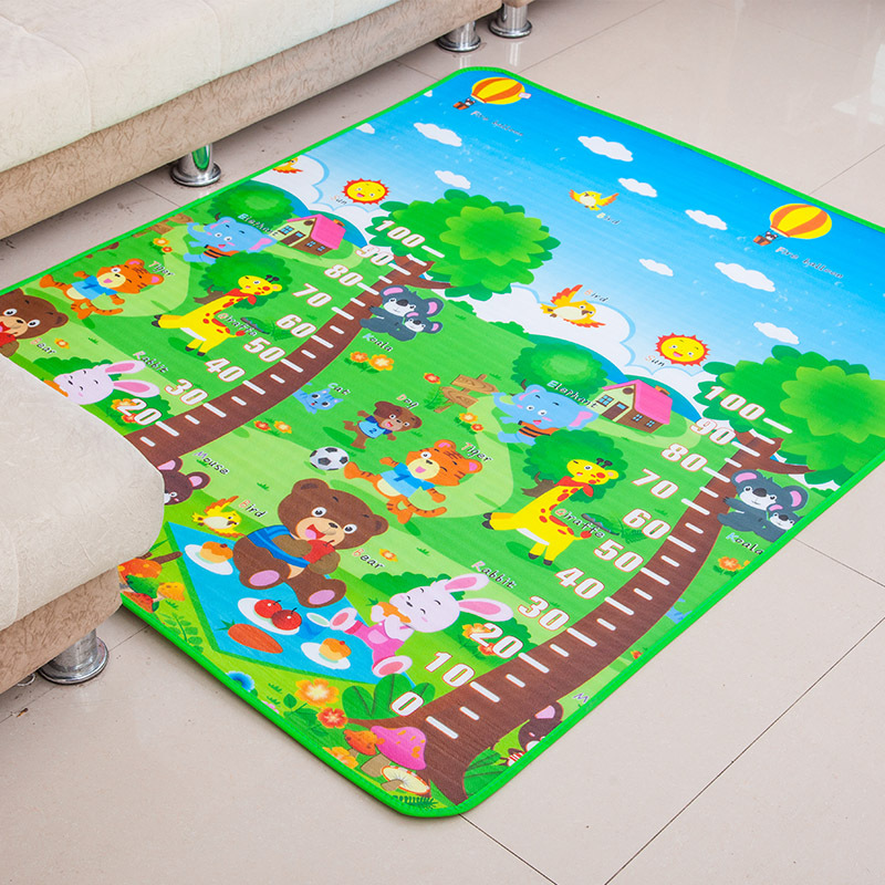 Double-sided Children Play Game Mat Cute Baby Measuring Height Room Cushion Outdoor Picnic Carpet Rug Kids Crawling Mat