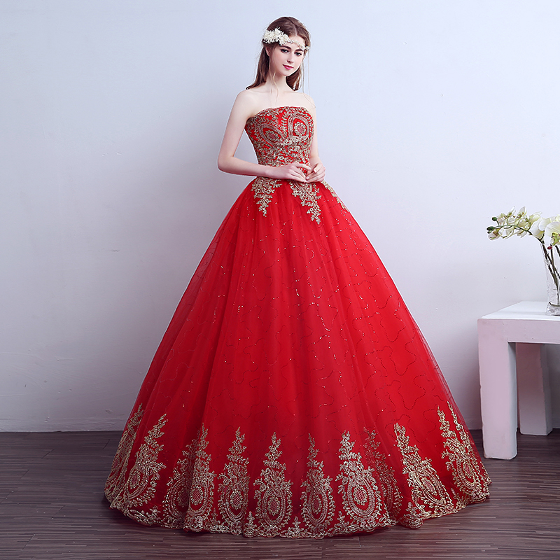 Red Wedding Dress with tail New Ball Gown Lace Chinese Style Embroidery Bridal Gown Wedding Dresses Bridal Dress Plus Size