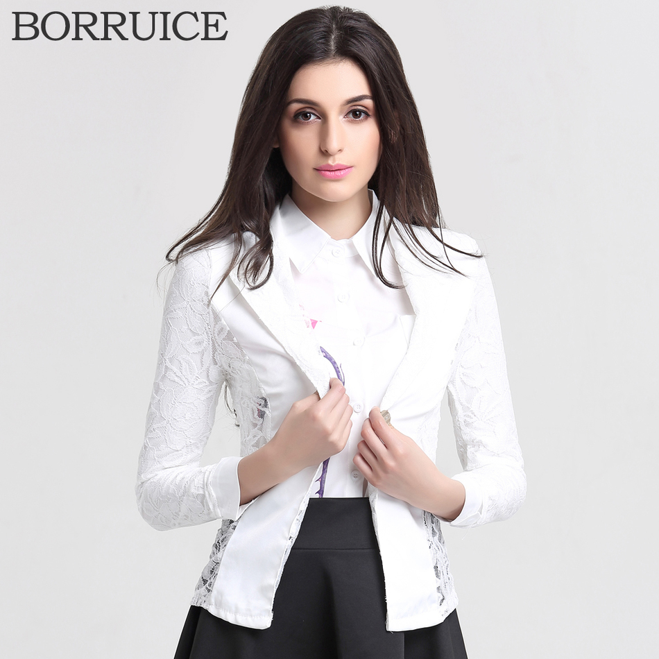 Free Shipping Womens Blazers And Jackets New 2016 Fashion Casual Spring Jacket Plus Lace Splice ...