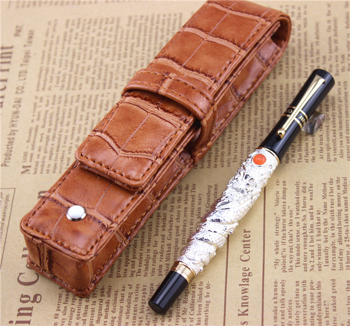 send a refill ballpoint Pen metal School Office supplies dragon roller ball pens high quality luxury business gift 004 white jinhao ballpoint pen and pen bag school office stationery roller ball pens men women business gift send a refill 012