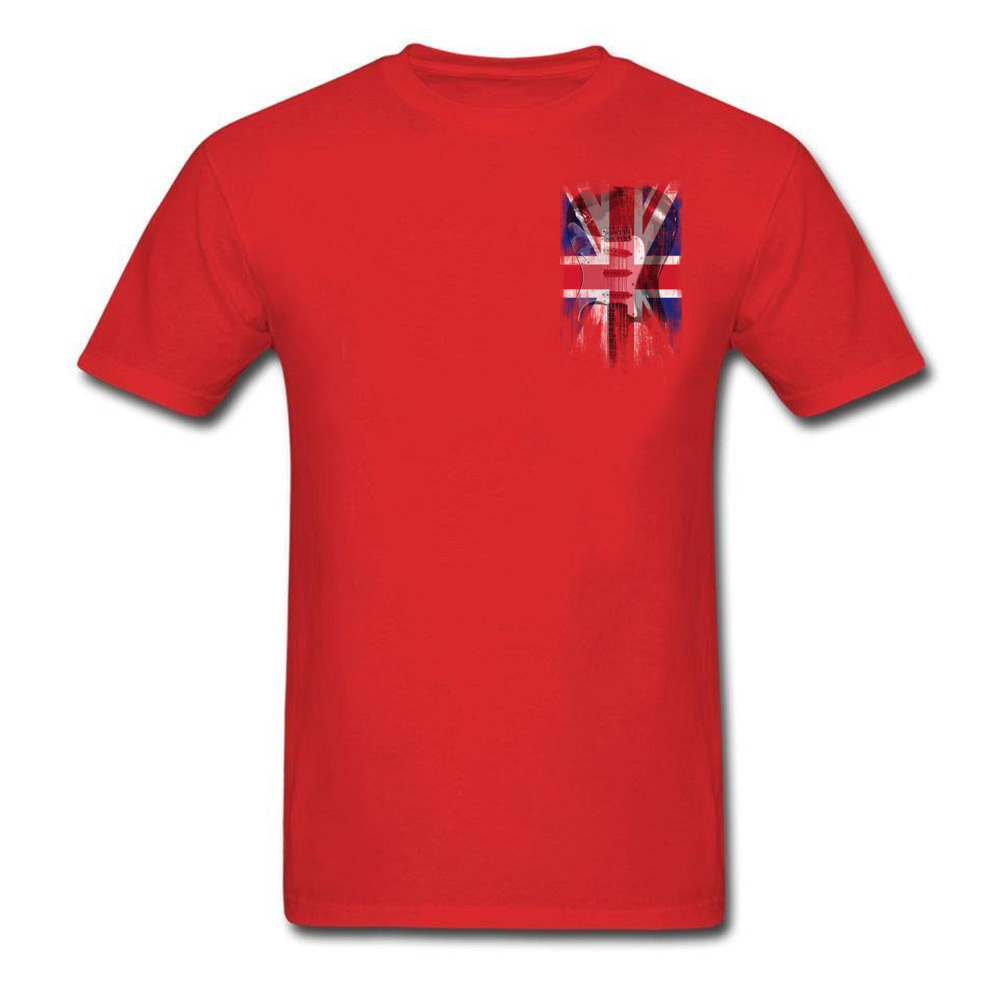 2018 Newest Cotton Fabric Tee Shirts Men Rock Guitar United Kingdom Flag Burgundy Fashion T Shirt For Adult Cool Summer Tshirts in T Shirts from Men 39 s Clothing