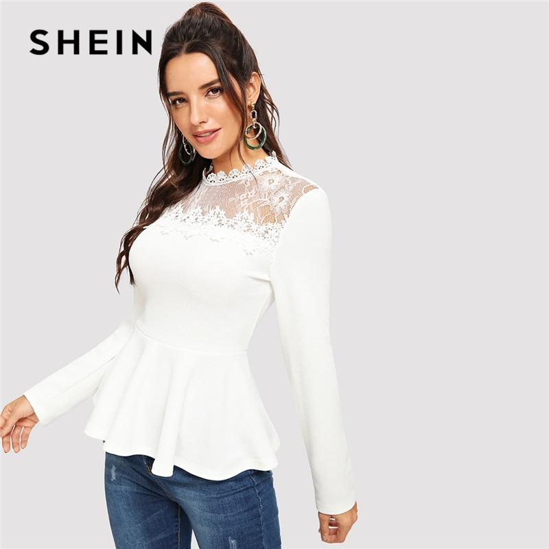 SHEIN blanco soporte de cuello de manga larga encaje de malla insertar Peplum Top blusas mujeres 2018 elegante primavera otoño Regular Fit Tops blusa