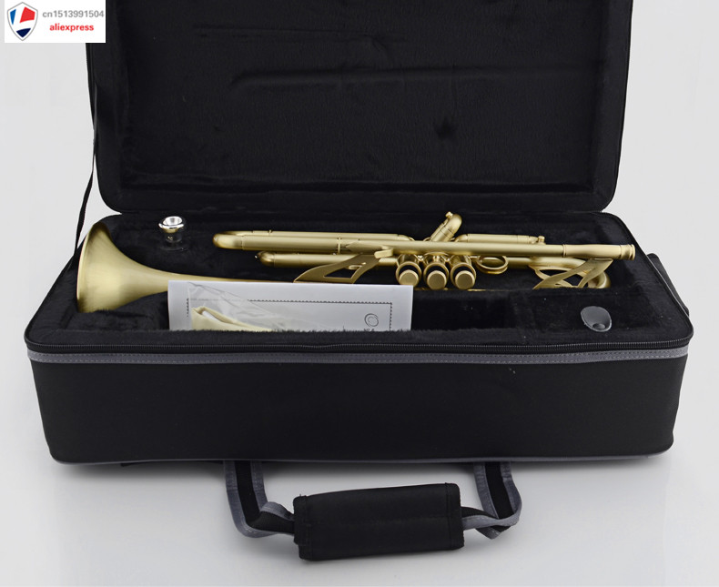 Professional Matt Brushed Bb Trumpet Horn Monel 2-Mouthpiece Leather Case professional silver gold plated marching french horn bb monel valves with case