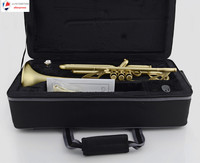 Professional Matt Brushed Bb Trumpet Horn Monel 2 Mouthpiece Leather Case