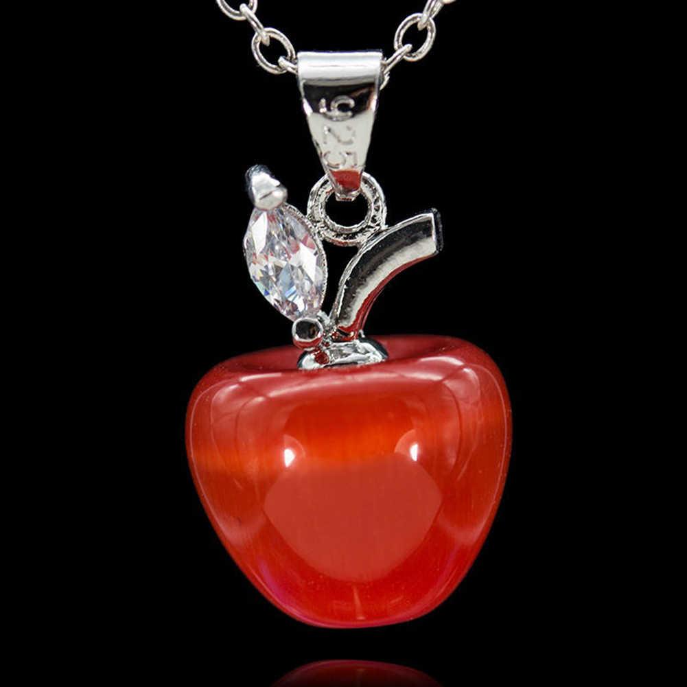 יומי חיים Women'sOpal אדום Apple צורת קסם תליון לשרשרת עגיל דקור אופל מסיבת מועדון אירועים תכשיטי אפל תליון