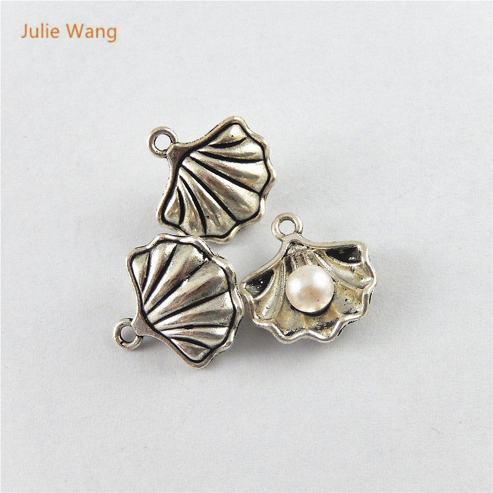 Julie Wang 20PCS Antique Silver Color Charm Mussels Shell Pendants For Jewelry Necklace Earring Accessory Suspension 51641