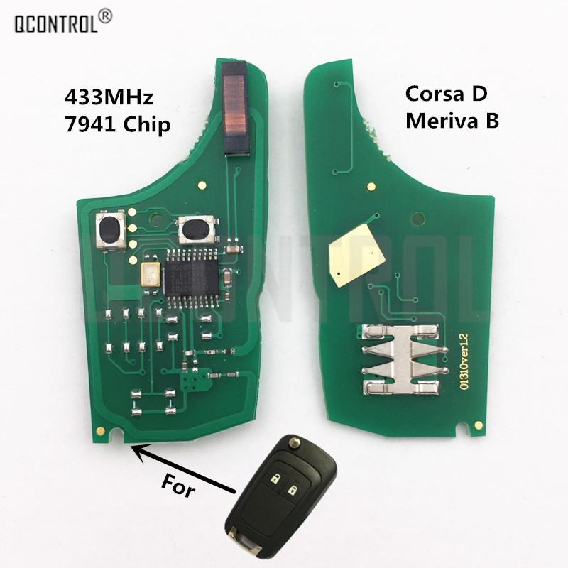 QCONTROL Car Control Remote Key Electronic Circuit Board for <font><b>Opel</b></font>/Vauxhall <font><b>Corsa</b></font> <font><b>D</b></font> <font><b>2007</b></font>+, Meriva B 2010+ with PCF7941 Chip image