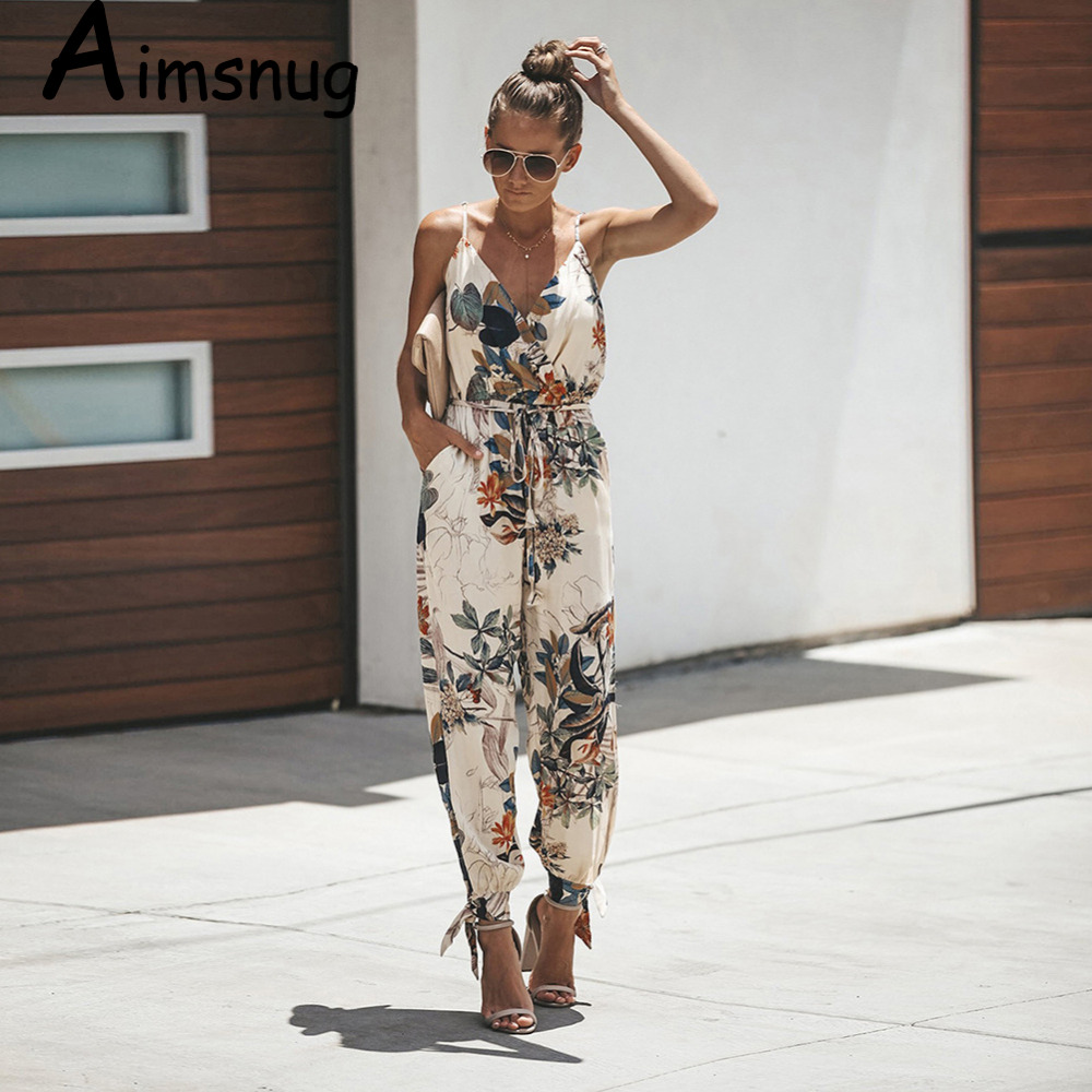 Spring summer fashion new streetwear womens playsuit deep v neck slim solid bodysuit   jumpsuit   romper long printed sling pocket