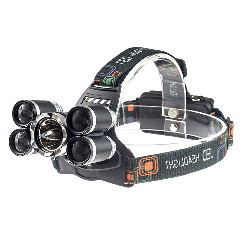 Waterproof Zoomable 80000LM 5 LED XML-T6 Rechargeable USB Headlamp Head Light With Charger+Car Charger --M25