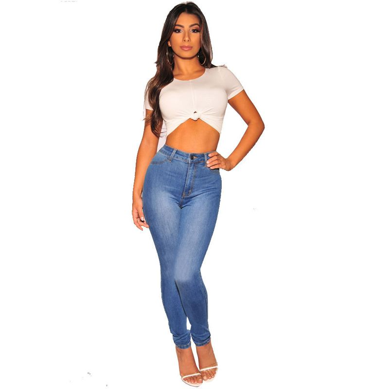 e1f4451be335 QMGOOD Chic Jeans Woman Newest Arrivals Fashion Blue Women Denim Skinny  Pants High Waist Stretch Jeans Slim Pencil Jeans Women