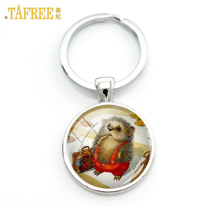 TAFREE Hedgehog Keychain Men Women Pendant For Key Handmade Fashion Key Chain Metal Jewelry Key Holder H242