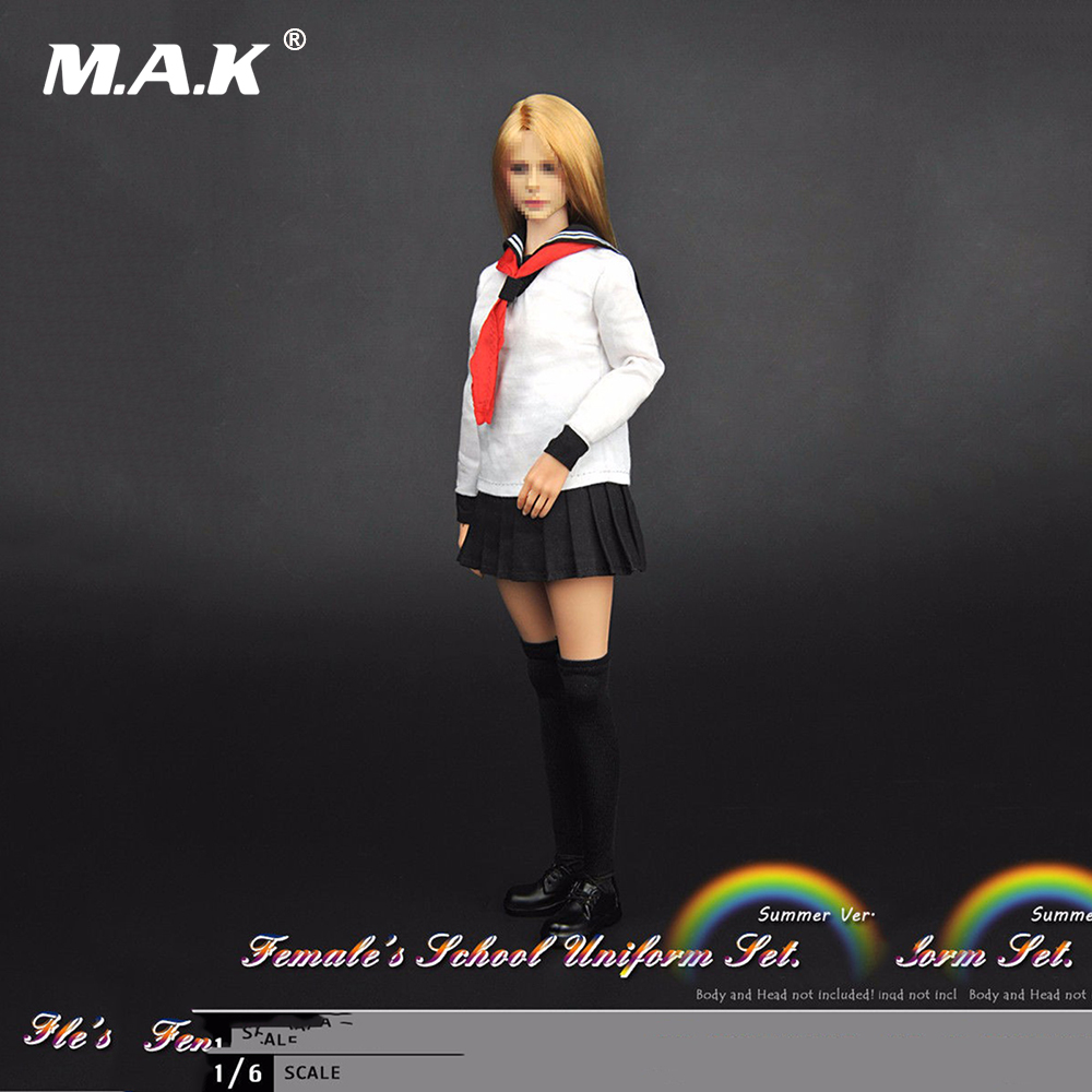 1/6 Female Clothing Girl School Uniform Set Model Toys For 12 Female Action Figures Body Accessory new sexy vs045 1 6 black and white striped sweather stockings shoes clothing set for 12 female bodys dolls